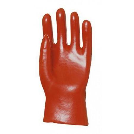 Lot 10 paires de gants PVC rouge enduit, modèle standard, 27 cm