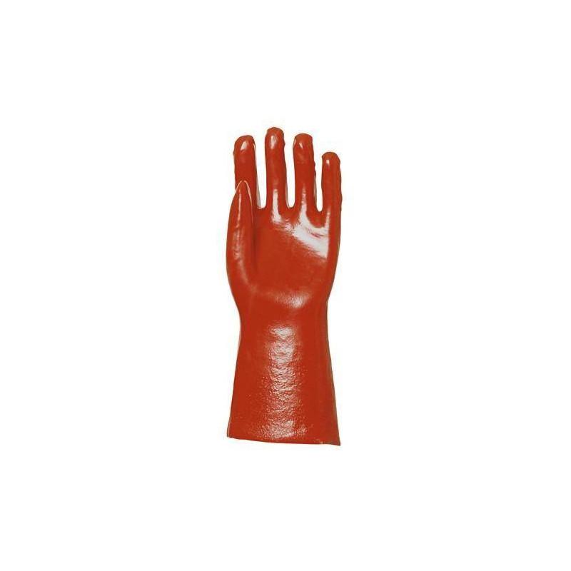 Lot 10 paires de gants PVC rouge enduit, modèle standard, 36 cm