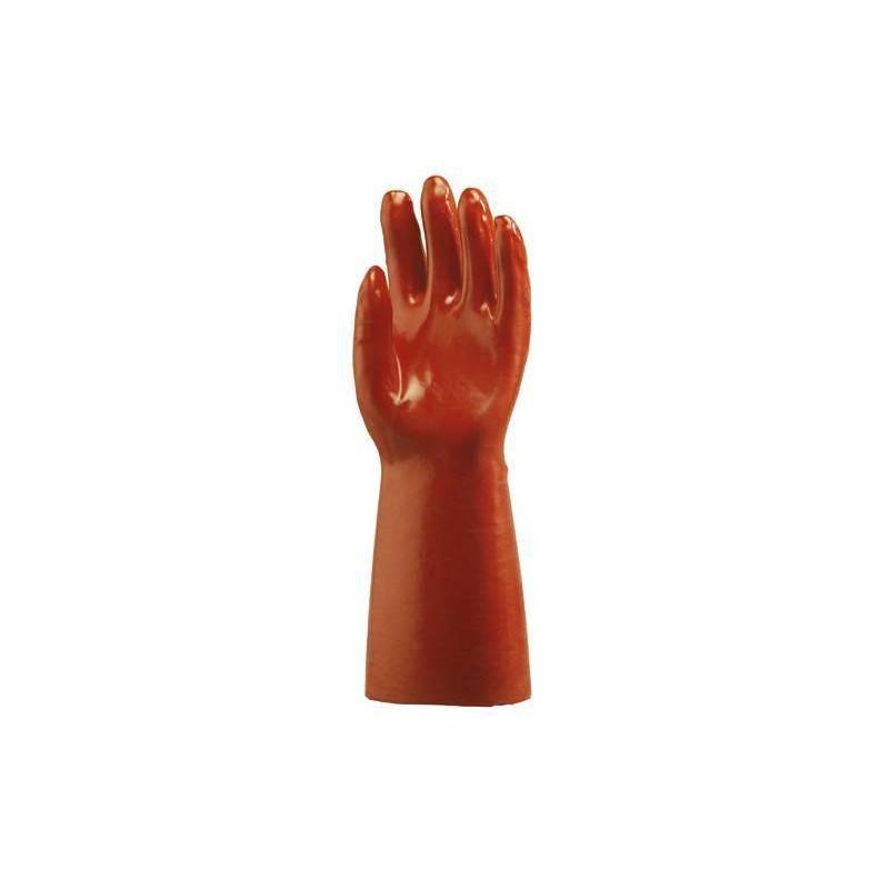 Lot 10 paires de gants PVC rouge enduit, modèle standard, 40 cm
