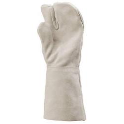 Lot 12 paires de gants 3 doigts, tout croûte vachette manchette 15 cm