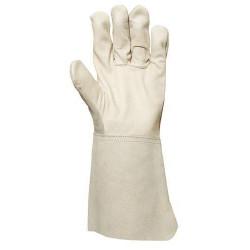Lot 12 paires de gants fleur vachette sup. dos croûte, manchette 15 cm