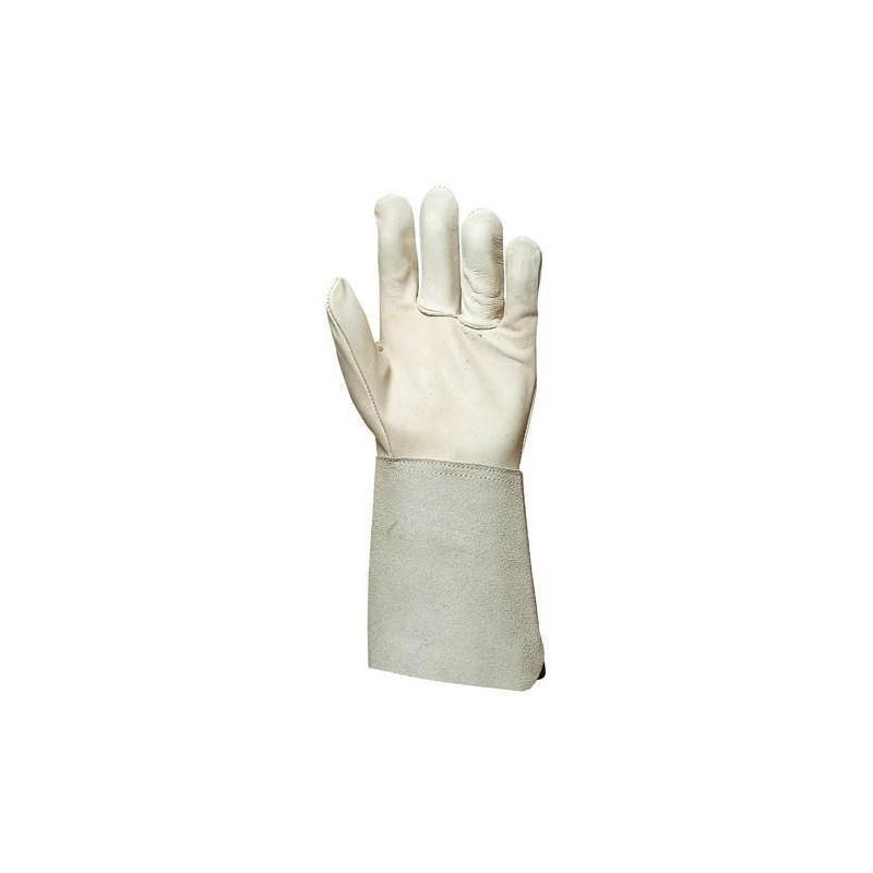 Lot 10 paires de gants tout fleur vachette, manchette croûte 15 cm