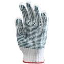 Lot 12 paires de gants polyester / coton tricoté avec picots sur 1 face