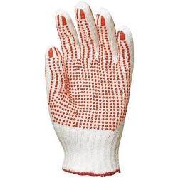 Lot 12 paires de gants polyester / coton tricoté avec picots rouges sur les 2 faces