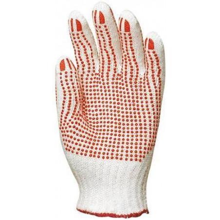 Lot 12 paires de gants polyester / coton tricoté avec picots sur les 2 faces