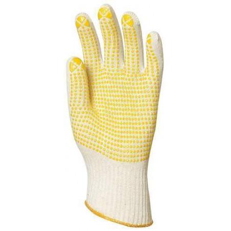 Lot 10 paires de gants pour travaux tricotés avec picots jaunes sur 1 face