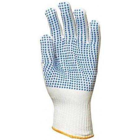 Lot 10 paires de gants polyamide tricoté, picots bleus 2 faces
