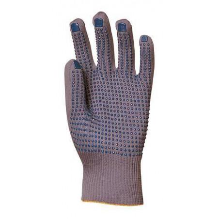 Lot 12 paires de gants nylon gris tricoté, picots bleus 1 face
