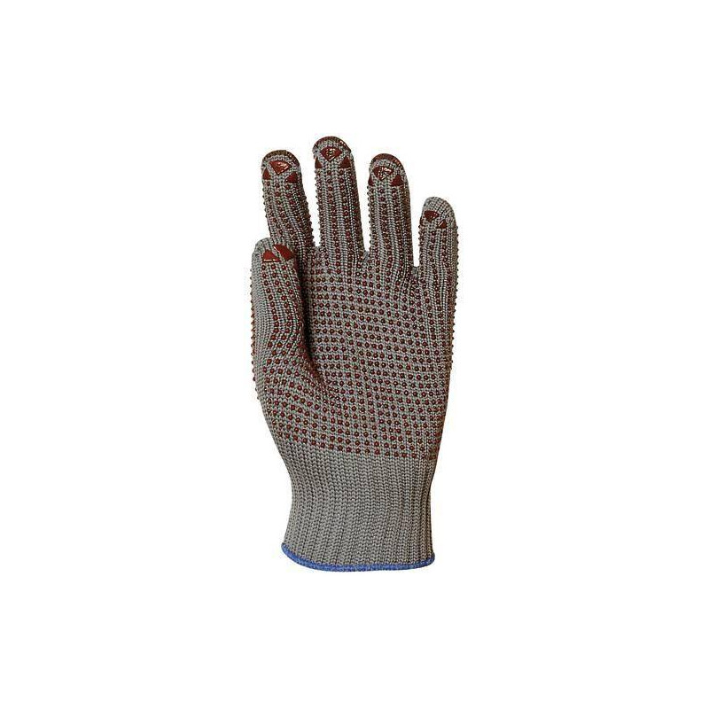 Lot 12 paires de gants nylon gris tricoté, picots rouges 2 faces