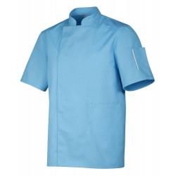 Veste de cuisinier mixte couleur NERO manches courtes ROBUR Bleu
