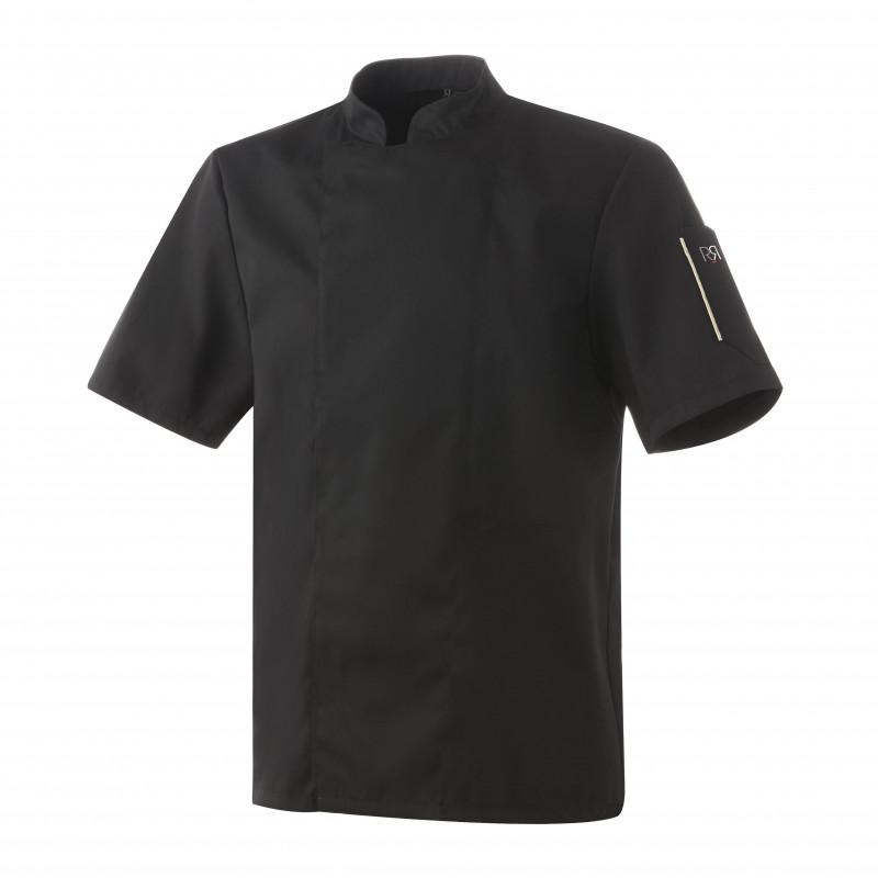 Veste de cuisinier mixte couleur NERO manches courtes ROBUR Noir