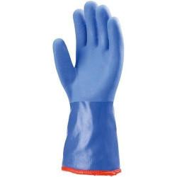 Lot 10 paires de gants PVC bleu anti-froid, 35 cm, doublure amovible