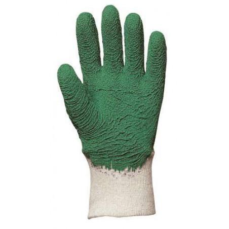 Gant de jardinage latex crêpé vert