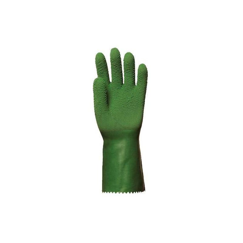 Lot 10 paires de gants latex crêpé vert standard 32 cm