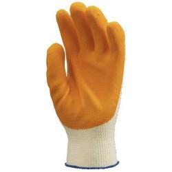 Lot 10 paires de gants GRIP jaune enduit latex orange