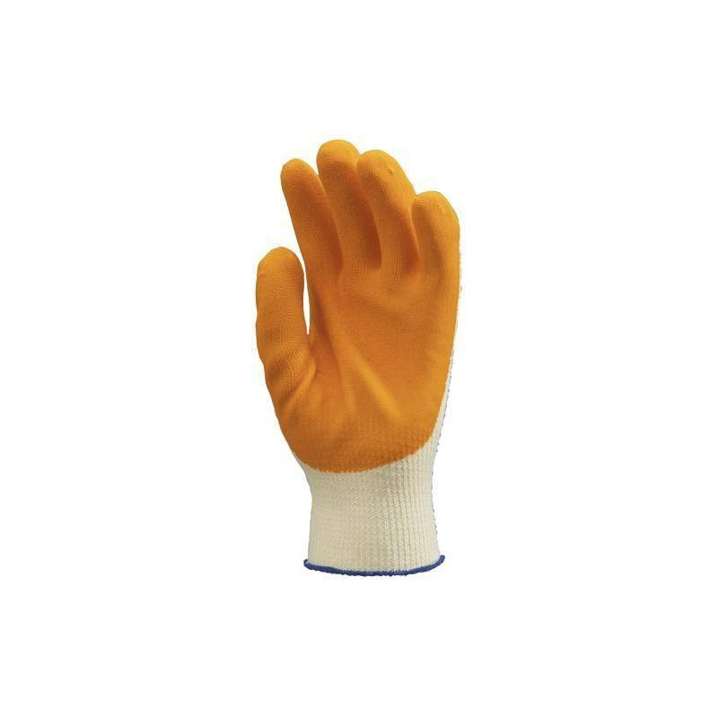 Lot 10 paires de gants GRIP jaune enduit latex orange