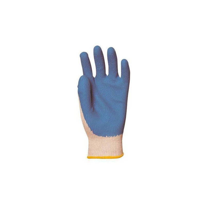 Lot 12 paires de gants GRIP gris enduit latex bleu