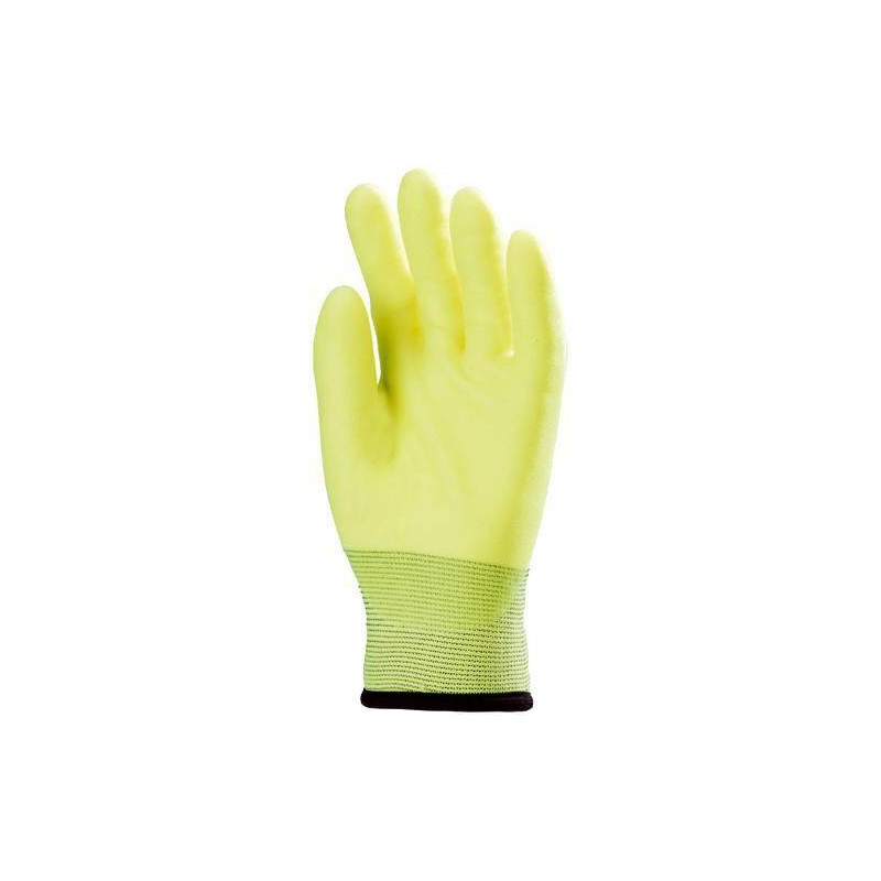 Lot 10 paires de gants déperlant paume end. PVC jaune fluo