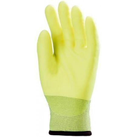 Lot 10 paires de gants déperlant paume enduit PVC jaune fluo
