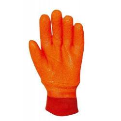 Lot 6 paires de gants PVC anti-froid orange fluo, poignet tricot, mousse intérieure
