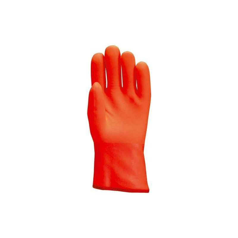Lot 6 paires de gants PVC anti-froid orange fluo, manchette, mousse intérieure