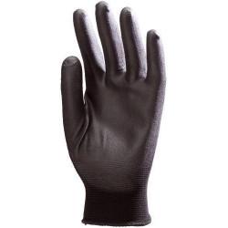 Lot 10 paires de gants polyamide noir, paume enduit PU noir