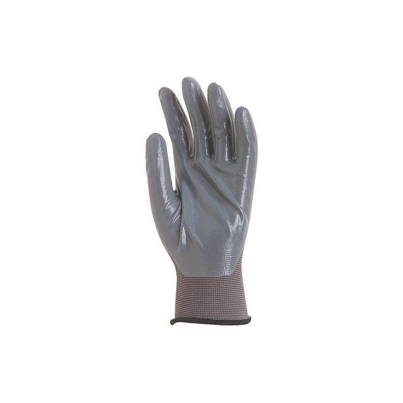 Lot 10 paires de gants polyamide gris, paume enduit Nitrile gris