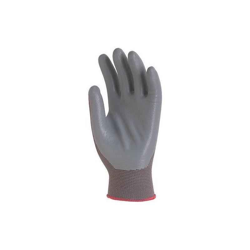 Lot 10 paires de gants polyamide gris, paume enduit mousse de Nitrile gris