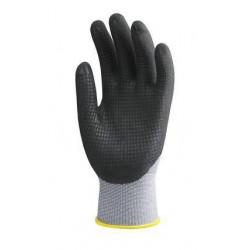 Lot 10 paires de gants polyam. gris, paume end. polyurét. resp. noir, picots Nitrile noirs
