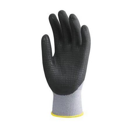 Paires de gants noir, polyamide gris, paume enduite de mousse, picots Nitrile noirs LIVRAISON 24/48H