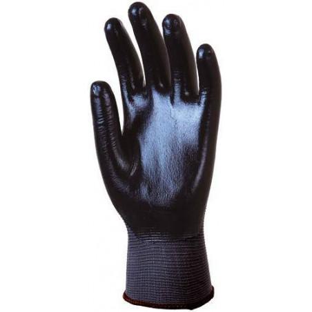 Paire de gant de travail anti glisse polyamide gris, enduit Nitrile noir dos aéré