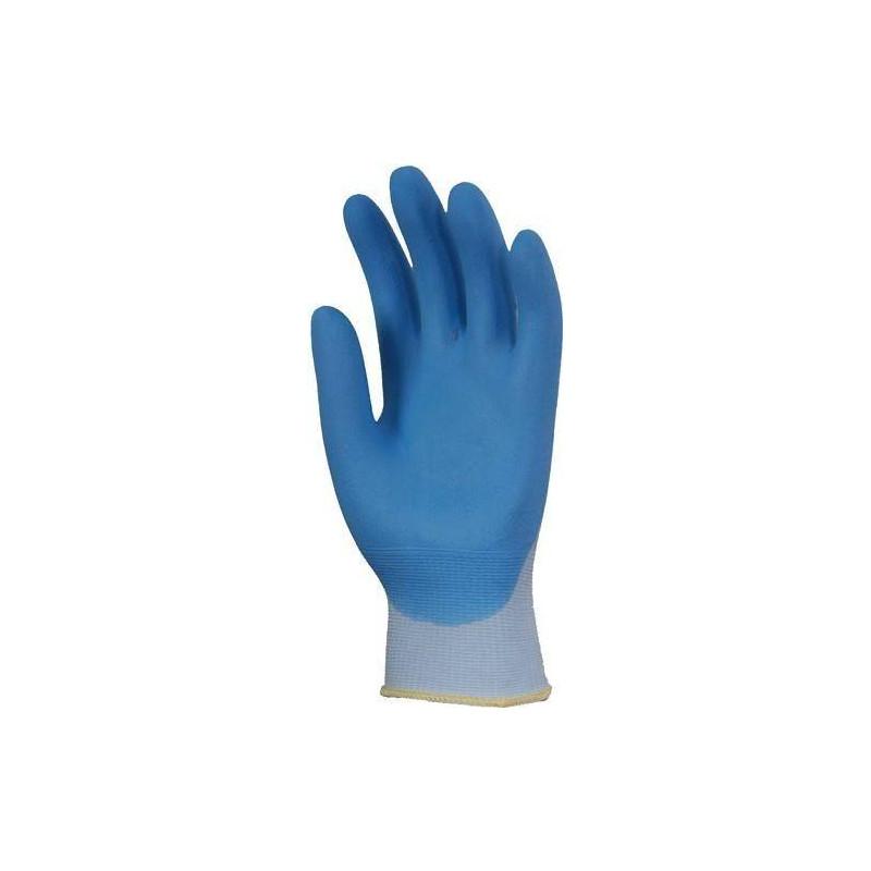 Lot 10 paires de gants nylon bleu clair paume enduit nitrile mousse