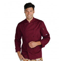 Veste de cuisine homme manches longues ROMA Bordeaux