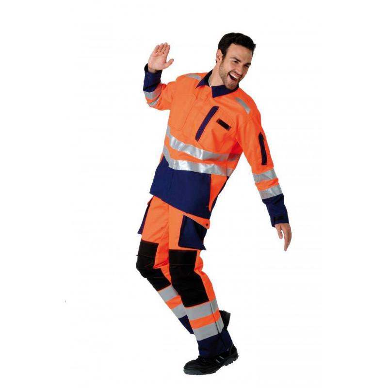 Pantalon de travail haute visibilité poches genoux ROADY orange/marine