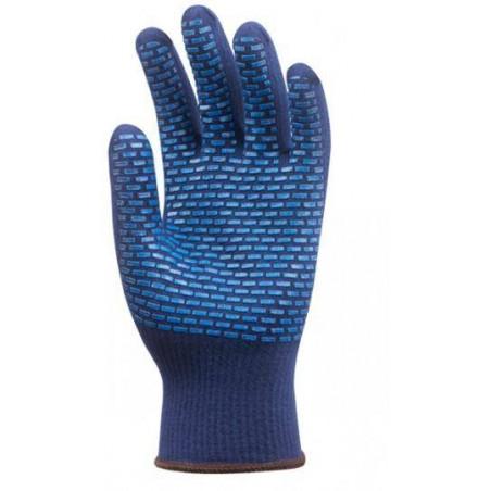 Lot 12 paires de gants Thermostat anti-froid bleu picots PVC bleus
