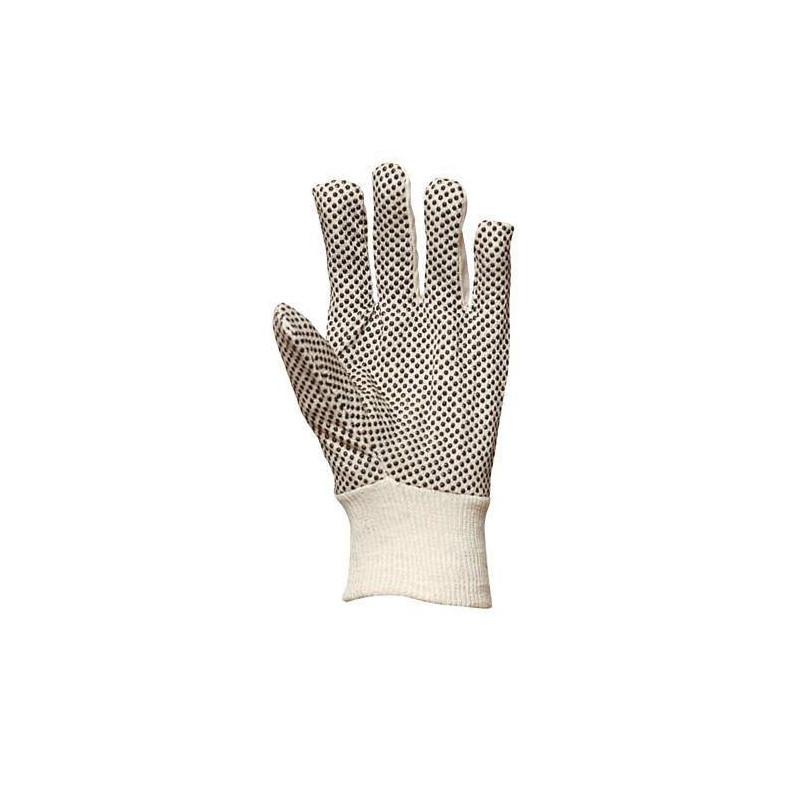 Lot 300 pièces gants toile coton, picots PVC noirs