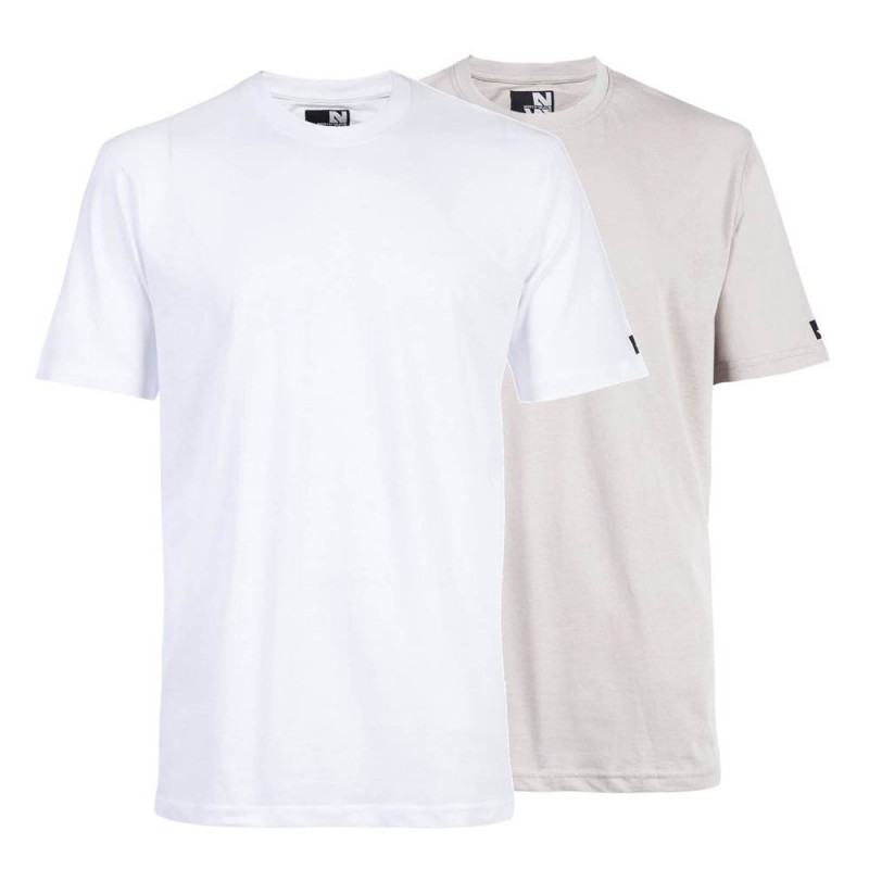 Pack de 2 tee shirts de travail RACING Blanc Perle Face