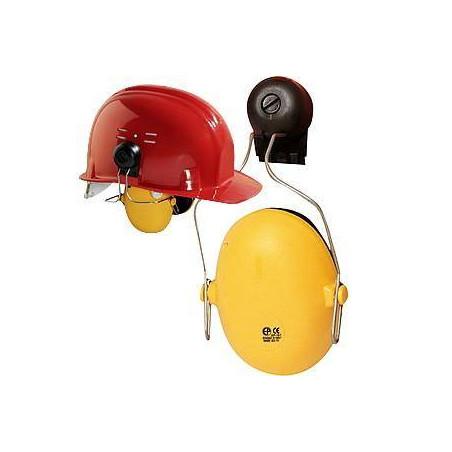 Lot 10 coquilles antibruit avec adaptateurs pour casque de chantier