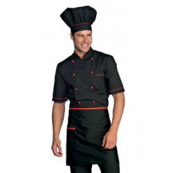Veste de cuisine manches courtes ALICANTE DESTOCKÉES Noir Rouge