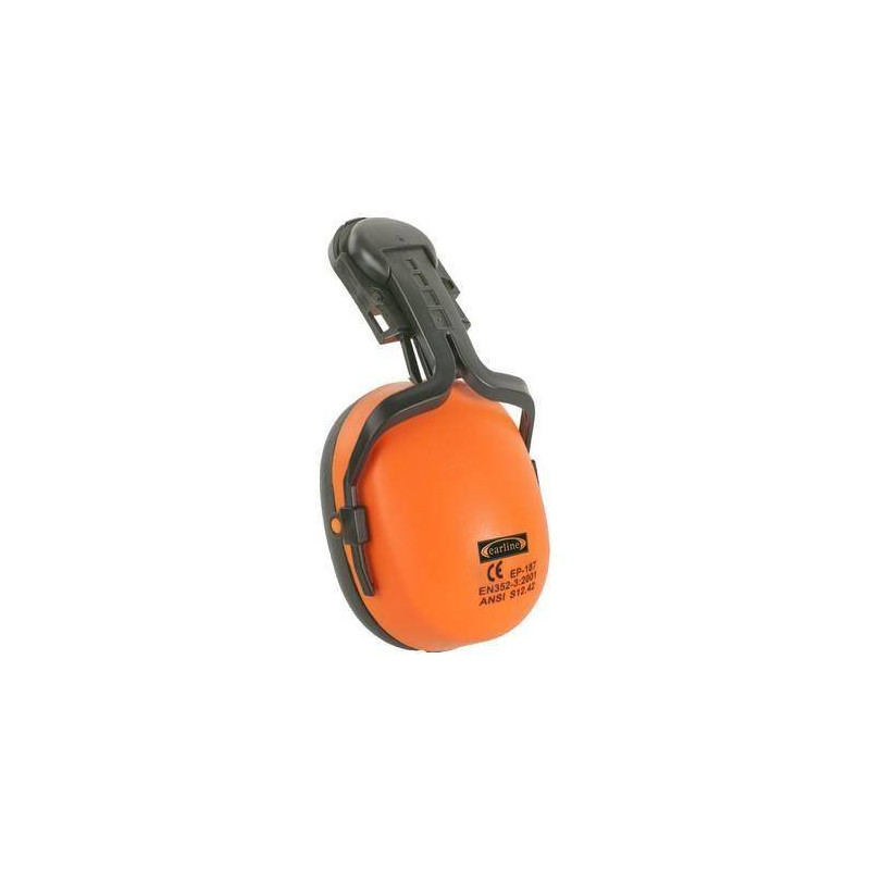 Lot 10 antibruit orange fluo + adaptateur casque de chantier