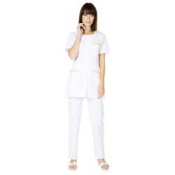Tunique médicale pour femme CAROLE blanc/miel