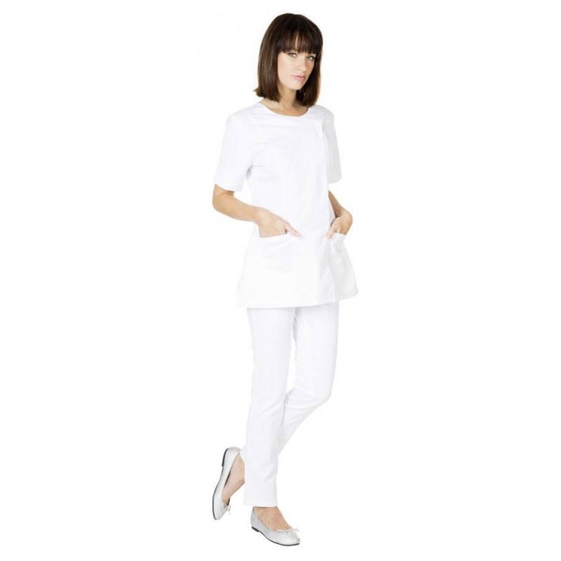 Tunique médicale femme manches courtes NATY blanche