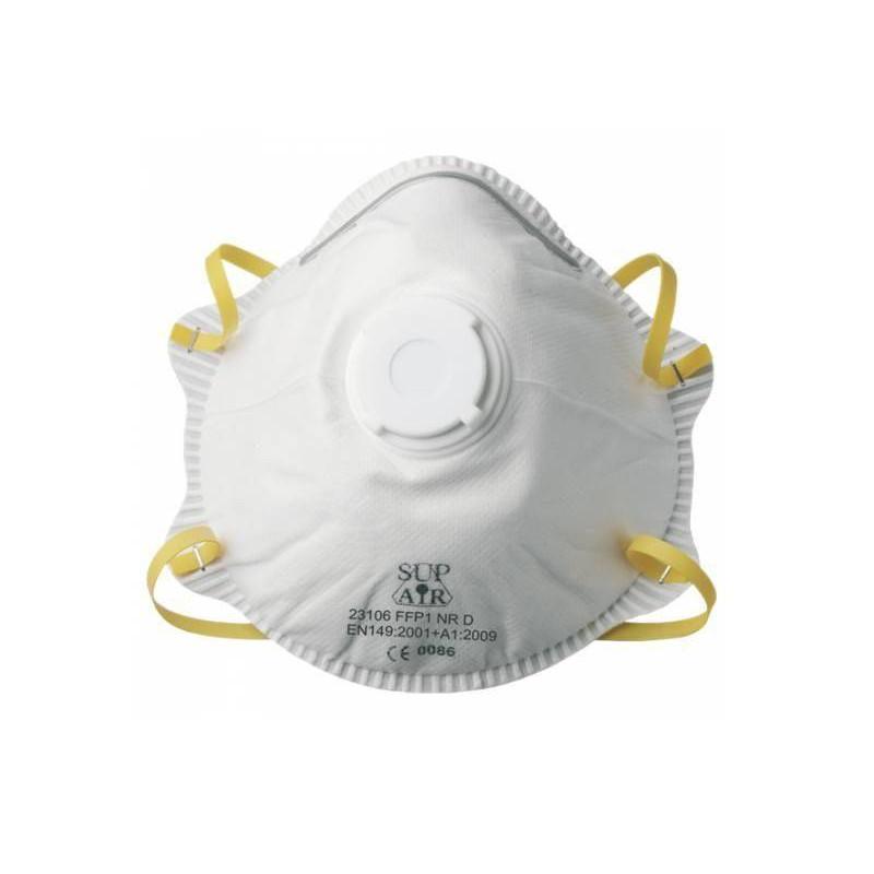 Boite de 10 Masques à coque jetables FFP1 NR D SL, avec soupapes (les 12 boites)