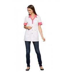 Tunique médicale femme JODIE manches courtes blanc fushia