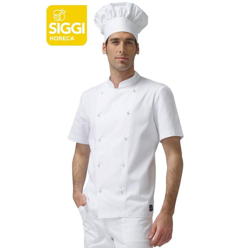 Veste de cuisine coton manches courtes ANTONIO blanche