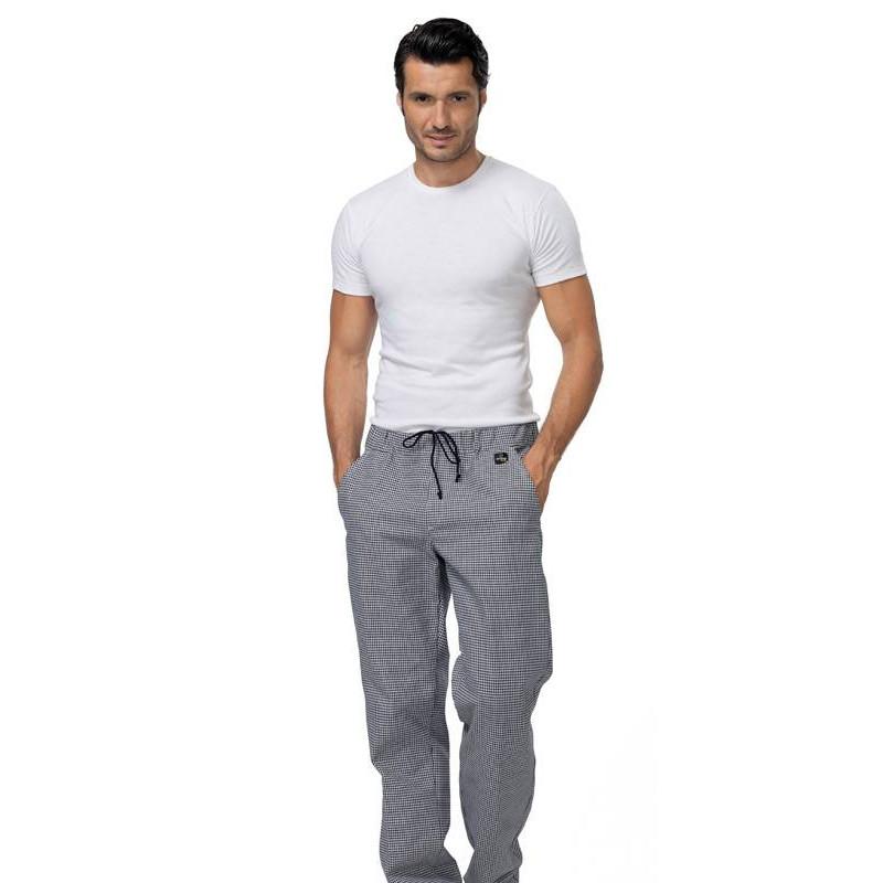 Pantalon de cuisine taille élastiquée JOSH pied de poule
