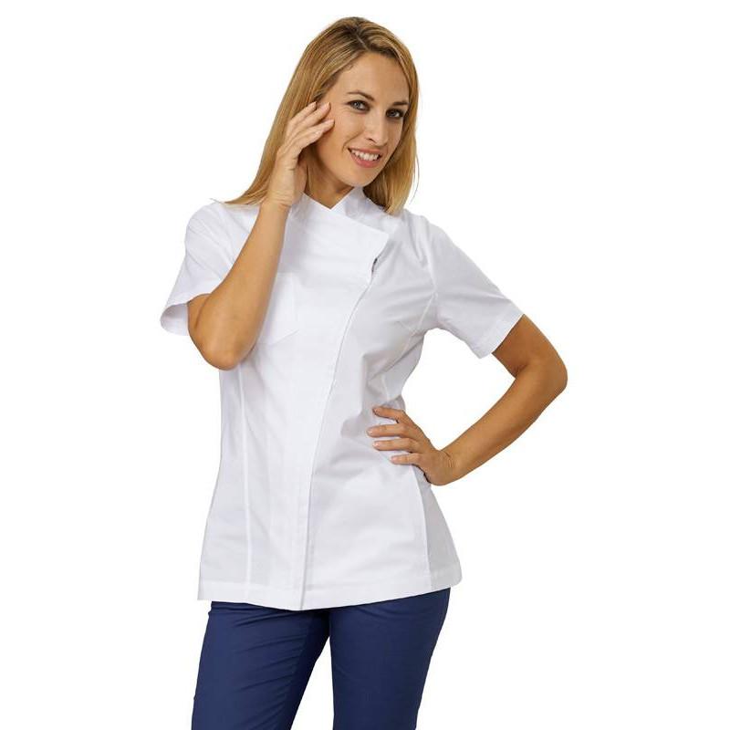 Tunique médicale femme à zip CHERRY blanche