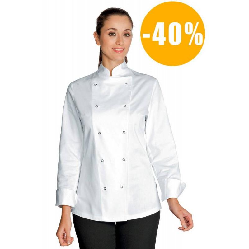 Veste de cuisine femme manches longues ESMERALDA DESTOCKEE