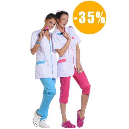 Tunique de travail  médicale femme COLINE zip couleur polycoton destockée