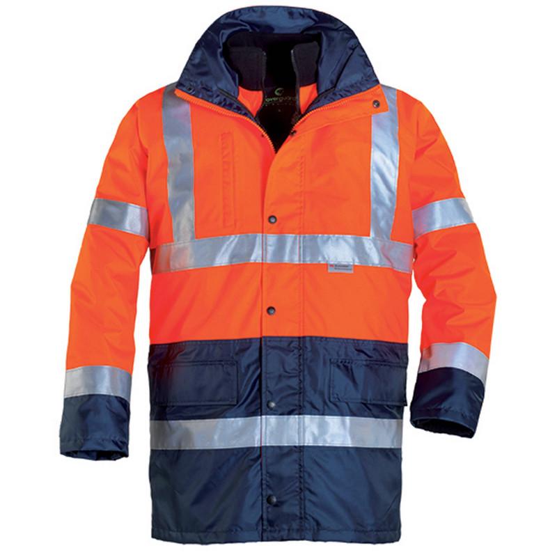 HIWAY HI-VIZ Parka de travail haute visibilité 4 en 1  orange marine